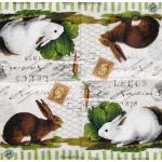 """Салфетка для декупажа IHR-310923 """"Винтажные кролики"""",  33х33 см, Германия"""