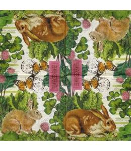 """Салфетка для декупажа IHR-310924 """"Кролики в траве"""",  33х33 см, Германия"""
