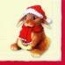 Салфетка для декупажа новогодняя Заяц, сова, белка и медведь,  33х33 см, Германия
