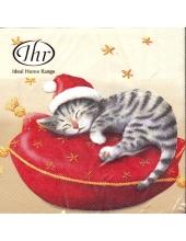 "Салфетка для декупажа IHR-423560 ""Котёнок-Санта"",  33х33 см, Германия"