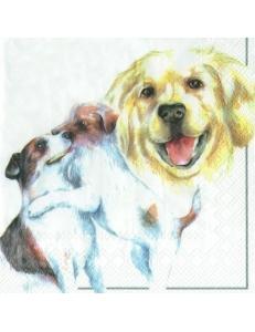 "Салфетка для декупажа ""Собаки"" белый фон, 33х33 см, Германия"