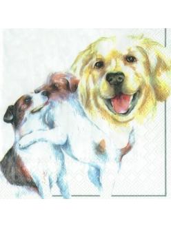 Салфетка для декупажа Собаки белый фон, 33х33 см, Германия