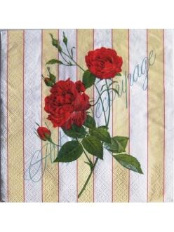 Салфетка для декупажа Красная роза, 33х33 см, Германия
