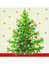 """Салфетка для декупажа, IHR-462260, """"Новогодняя ель"""", 33х33 см, Германия"""
