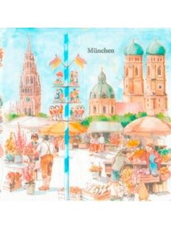 """Салфетка для декупажа, IHR-466300, """"Мюнхен"""", 33х33 см, Германия"""