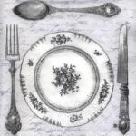 """Салфетка для декупажа, IHR-474345, """"Званый ужин. Столовые приборы"""" серый, 33х33 см, Германия"""