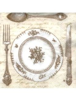 Салфетка для декупажа Званый ужин, столовые приборы, кремовый, 33х33 см