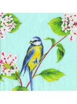 "Салфетка для декупажа, IHR-474540, ""Птичка на ветке"" голубой фон, 33х33 см, Германия"