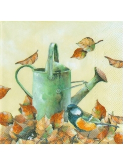 "Салфетка для декупажа, IHR-479960, ""Осень. Птичка и лейка"", 33х33 см, Германия"