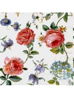 Салфетка для декупажа Розы, лилии, гортензии, 33х33 см, Германия