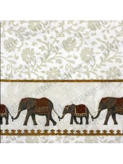 Салфетка для декупажа Слоны, белый фон, орнамент, 33х33 см, Германия