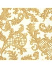 "Салфетка для декупажа, IHR-511769, ""Ткань в стиле Сан-Суси, золото на кремовом"", 33х33 см"