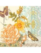 "Салфетка для декупажа, IHR-520000, ""Птичка, розы, орнамент"", 33х33 см, Германия"