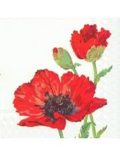 """Салфетка для декупажа IHR-201340 """"Красные маки"""", 33х33 см, Германия"""