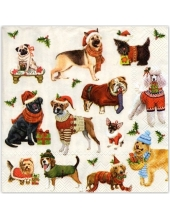 """Салфетка для декупажа IHR-831300L """"Рождественские собаки"""", 33х33 см, Германия"""
