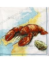 "Салфетка для декупажа, IHR-83890, ""Лобстер, морские раковины"", 33х33 см, Германия"