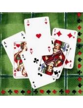"""Салфетка для декупажа IHR-201077 """"Игральные карты, зеленый фон"""", 33х33 см, Германия"""