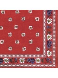 Салфетка для декупажа Эдельвейс, красный, 33х33 см, Германия