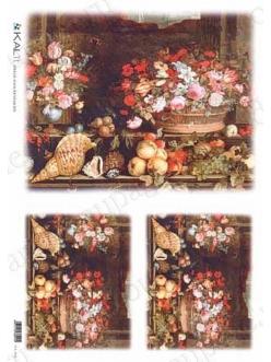 Рисовая бумага для декупажа Натюрморт с ракушками, 32х45см, Kalit IRP 0031