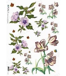 """Рисовая бумага Love2Art 0037, """"Цветы и бабочки"""", 32х45см, Kalit (Италия)"""