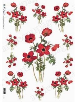 Рисовая бумага для декупажа Красные цветы, 32х45см, Kalit IRP 0038