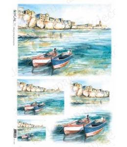 "Рисовая бумага Love2Art 0054, ""Лодки у причала"", 32х45см, Kalit (Италия)"
