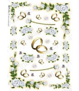 """Рисовая бумага Love2Art 0097, """"Обручальные кольца и роза"""", 32х45см, Kalit (Италия)"""