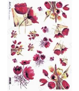 "Рисовая бумага Love2Art 0114, ""Тюльпаны, акварель"", 32х45см, Kalit (Италия)"