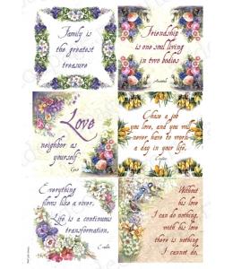 "Рисовая бумага Love2Art 0153, ""Цветы и текст"", 32х45см, Kalit (Италия)"