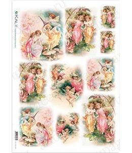 """Рисовая бумага Love2Art 0165, """"Цветочные феи"""", 32х45см, Kalit (Италия)"""