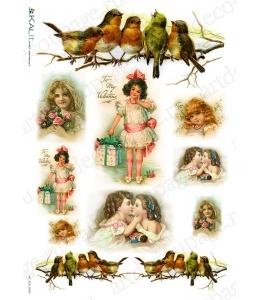 """Рисовая бумага Love2Art 0169, """"Дети и птицы"""", 32х45см, Kalit (Италия)"""