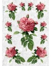 """Рисовая бумага Love2Art 0035, """"Роза на белом фоне"""", 32х45см, Kalit (Италия)"""