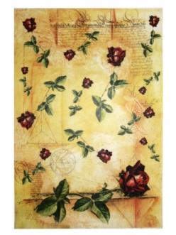 Рисовая бумага Крансая роза на фоне текста, 32х45см, Kalit (Италия)