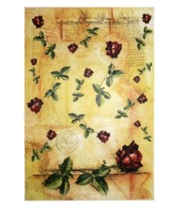 "Рисовая бумага Love2Art 0033, ""Крансая роза на фоне текста"", 32х45см, Kalit (Италия)"