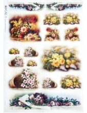 "Рисовая бумага Love2Art 0042, ""Букеты цветов"", 32х45см, Kalit (Италия)"