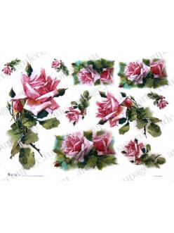 Рисовая бумага Love2Art Розовые розы, 32х45см, Kalit (Италия)