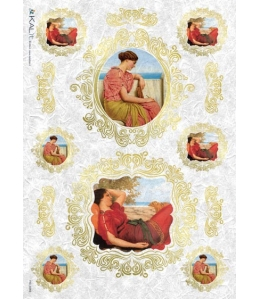 """Рисовая бумага Love2Art 0076, """"Скучающие девы. Древняя Греция"""", 32х45см, Kalit (Италия)"""
