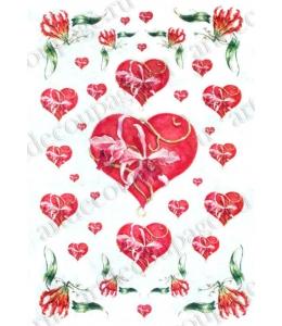 "Рисовая бумага Love2Art 0095, ""Сердце и орхидеи"", 32х45см, Kalit (Италия)"