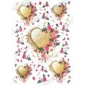 "Рисовая бумага Love2Art 0106, ""Сердца в цветах"", 32х45см, Kalit (Италия)"