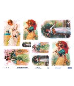 """Рисовая бумага Love2Art 0109, """"Девушки на природе"""", 32х45см, Kalit (Италия)"""