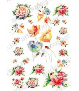 """Рисовая бумага Love2Art 0112, """"Розы и тюльраны, аквареь"""" 32х45см, Kalit (Италия)"""