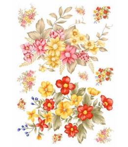 """Рисовая бумага Love2Art 0142, """"Красные и желтые цветы"""", 32х45см, Kalit (Италия)"""