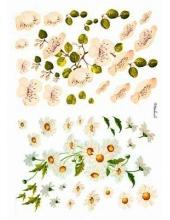 """Рисовая бумага Love2Art 0146, """"Ромашки и яблоневый цвет"""", 32х45см, Kalit (Италия)"""