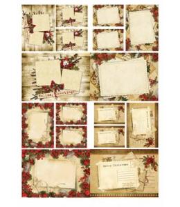 """Рисовая бумага Love2Art 0152, """"Новогодние открытки"""", 32х45см, Kalit (Италия)"""