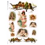 """Рисовая бумага Love2Art 0169 """"Винтажные дети и птицы"""", 32х45см, Kalit (Италия)"""