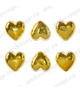 Стразы клеевые Золотые сердца, металлик, 9х15 мм, 6 штук, Knorr prandell