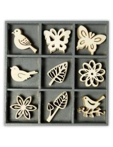 """Набор декоративных элементов из дерева """"Птицы, бабочки, цветы"""", 45 шт, 22 мм, Knorr prandell"""