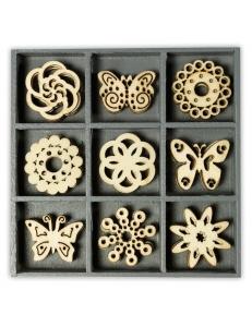 """Набор декоративных элементов из дерева """"Бабочки и цветочки"""", 45 шт, 22 мм, Knorr prandell"""