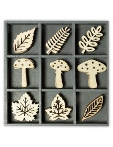 """Набор декоративных элементов из дерева """"Грибы и листья"""", 45 шт, 22 мм, Knorr prandell"""
