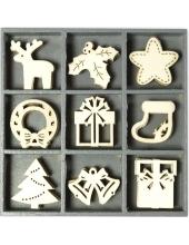 """Набор декоративных элементов из дерева """"Рождественские символы"""", 45 шт, 22 мм, Knorr prandell"""